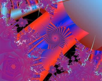 """Fine Art print and Note Cards entitled, """"Oriental in Red,"""" from an original fractal."""