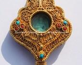24 Karat Gold Plated Tibetan Vajrasattva Ghau Prayer Box Pendant with Ruby, Emerald Inlay - Buddha Gold Ghau Ethnic Tibetan Jewelry - WM5133