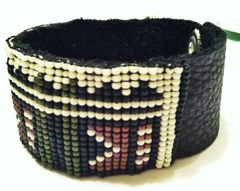 Beaded Cuff On Leather