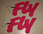 Back to Back Hot Pink Fly Earrings (3 inches)