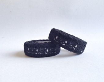 Nastro Adesivo di pizzo nero / Lace Fabric Tape Black