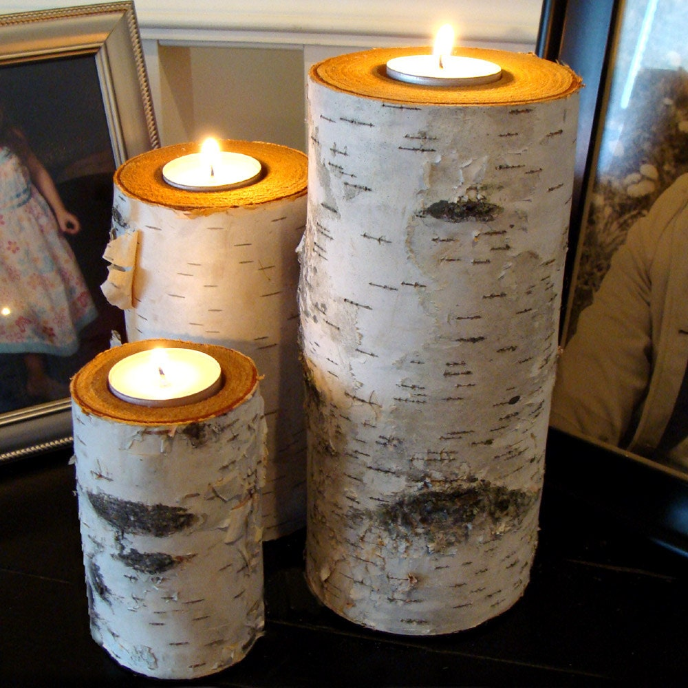 Rustic Wooden Tea Light Holder Free Shipping: Real Birch Log Tealight Candle Holder Set 3 Great By BINESHIIS