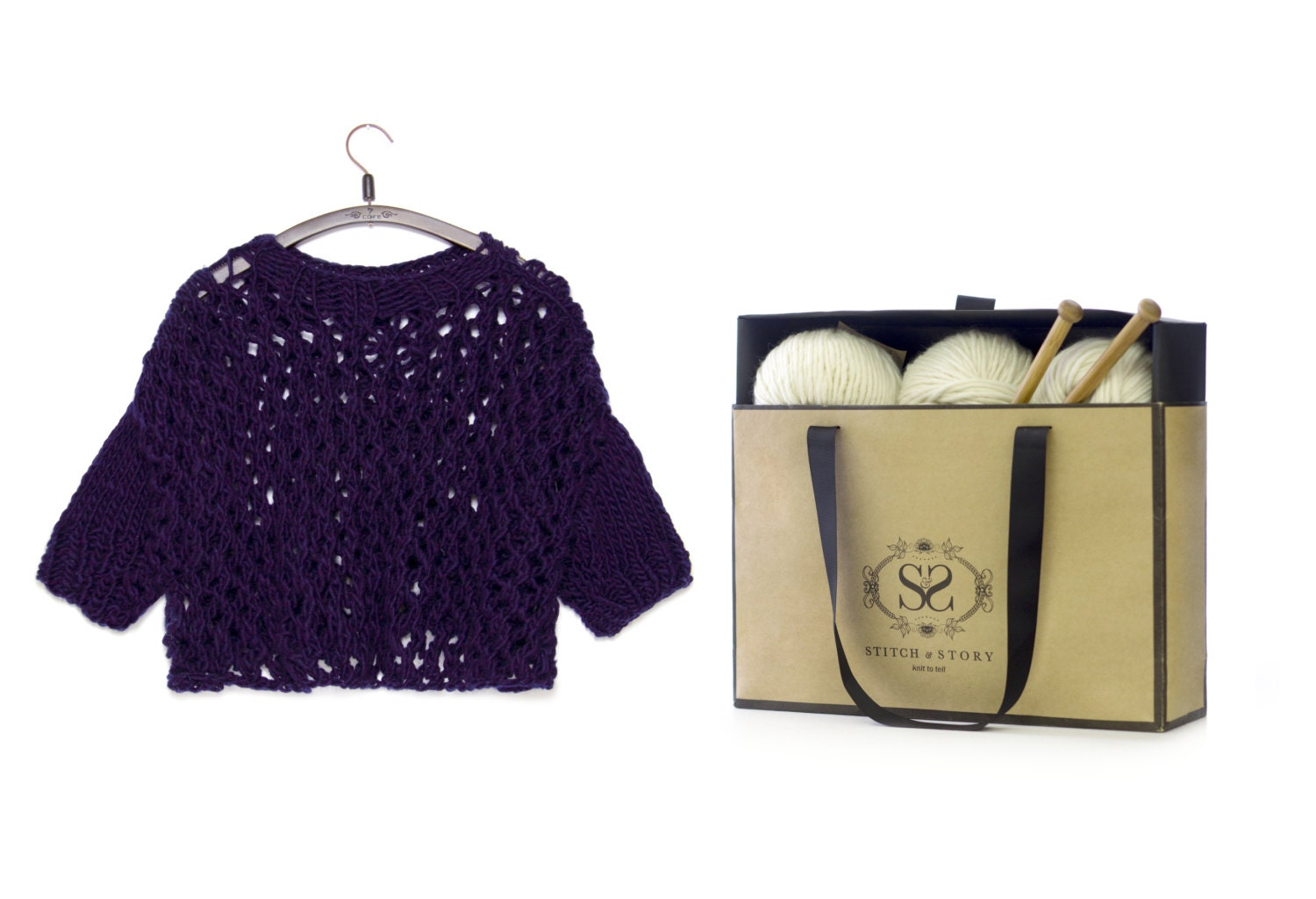 Jumper Knitting Kits Uk : Chunky lace sweater knitting kit diy craft set merino wool