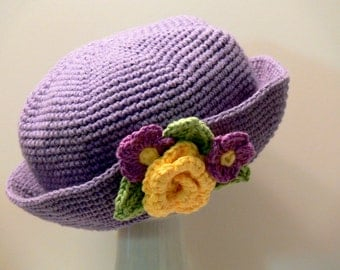 Crochet Pattern - Girls Hat with Brim - Flowers, Rose Violet, Sun Hat, Winter Hat Baby, Toddler, Girls, Teen, Ladies, Womens, Large # 102