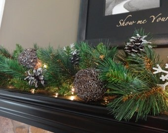 Mantle Garland, Christmas Mantel, Christmas Garland, Staircase Garland, Pine Garland, Christmas Decoration, Silver Garland, Winter Garland