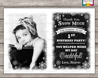 Winter Wonderland / Onederland Snowfall Black and White - Personalized Digital Custom Party Photo Thank You Card 4x6 or 5x7 jpg or pdf