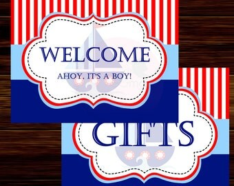 Nautical Party Signs, Ahoy Its A Boy,  Instant Download  - Digital File
