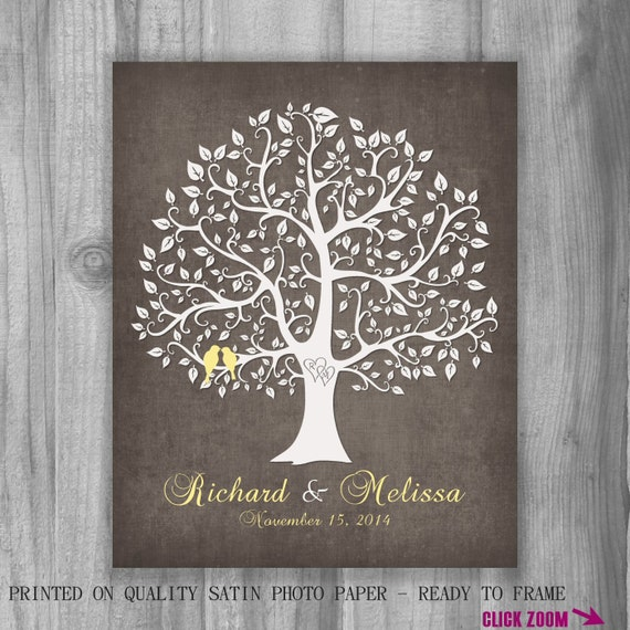 Family Tree Wedding Gift: Family Tree Print Wedding Gift Personalized By