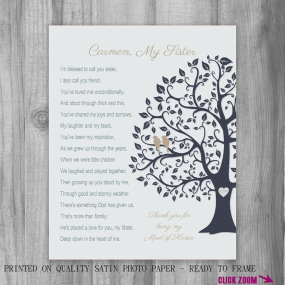 SISTER GIFT Maid of Honor Thank You Proposal Personalized Art Print ...