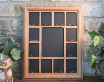 school years frame not personalized graduation collage k 12 full grades oak picture frame and oak matte 11x14