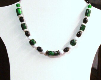 """Handmade Beaded Necklace in Dark Green, Black and White 18"""" Long"""