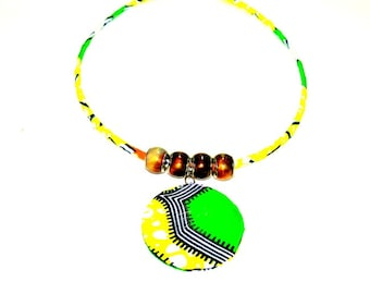 Bib Necklace - African wax print fabric necklace,Ethnic necklace, african fabric necklace ,For her, Ethnic jewelry, colorful