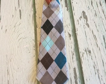 Gray argyle neck tie- pre made- extra small to large