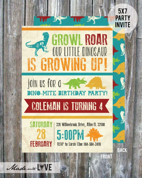 dinosaure birthday party invitation anniversaire. Black Bedroom Furniture Sets. Home Design Ideas