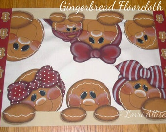 Gingerbread, Floorcloth, canvas, Floor Mat, painting pattern, instant download