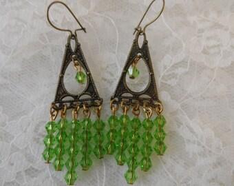 """Chandelier vintage gold/peridot earrings,2"""",jwl01"""