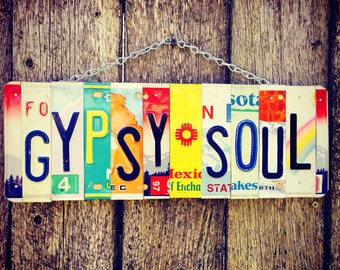 License plate art. Gypsysoul. Boho. Gypsy. Hippie. Vintage. Recycled. Roomdecor. Giftidea. Travel. Hawaii. Beach.
