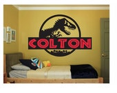 Dinosaur Name Wall Decal Sticker Large kids bedroom big fun Jurassic Park jurassic world boy or girl name large disney play big any letters