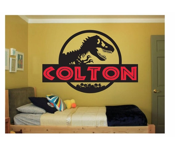 Dinosaur Name Wall Decal Sticker Large Kids Bedroom Big Fun Jurassic