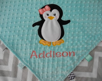 Personalized Baby Blanket, Penguin Baby Blanket, Penguin Nursery, Custom Minky Blanket, Made to Order