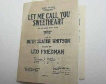 Sheet Music Let Me Call You Sweetheart - dollhouse miniature 1:12 scale