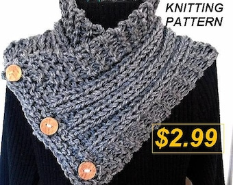 KNIT SCARF Pattern, Scarf Knitting Pattern - Hectanooga Side Buttoned Cowl Scarf - Easy beginner level with video links to stitches - #752