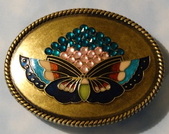 Brass Finish Belt Buckle with Butterfly and  Rhinestones