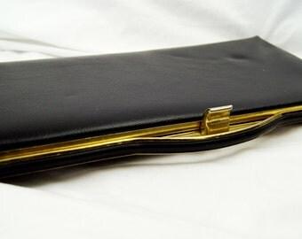 Vintage 1970's Black Clutch Purse