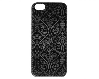 New Modern Style Dark Damask Black Trendy Chic Phone Case for iPhone 6 / 5s / 5c / 4s / 4 Quality Back Cover Cute Modern Print c282