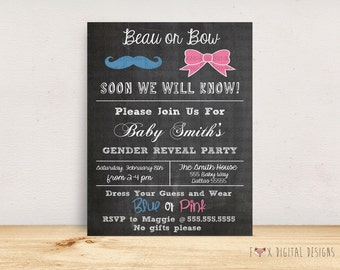 Beau or Bow Gender Reveal Party Invitation - Custom - Printable