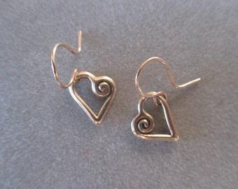 14Kt Gold Asymmetric Spiral Heart Earrings #ER31YG