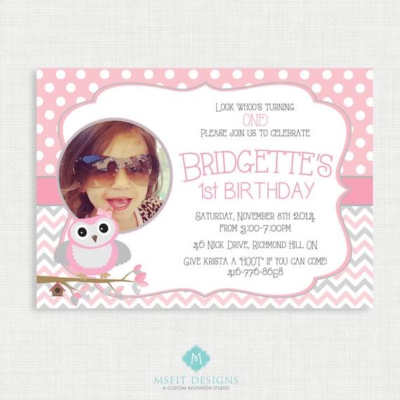 Printable Birthday Invitation- Picture Owl Birthday Invitation, Girl Birthday Party Invitations, Owl, DIY,  Printable Template, Digital