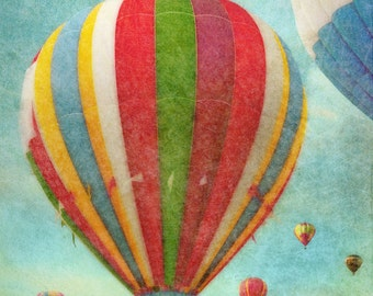 Hot Air Balloons 3 - blue green - green - red - blue - wall art