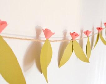 Pink Paper Flower Garden Garland
