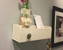 Wall Hanging Shelf , cottage bottle, Wood Box Organizer, Key Holder Box, Home Decor, Upcycled wooden box jewel organizer, mail organizer
