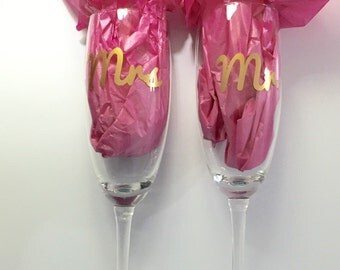 Personalized Champagne toasting flutes