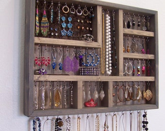 Jewelry Organizer, Gray Jewelry Display Case