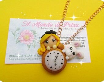 Alice in Wonderland  Polymer clay Necklace with Alice, Bunny and Watch Kawaii