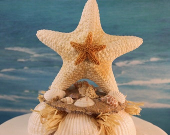 Starfish Beach Inspired Wedding Cake Topper Decoration Top Shells