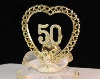 50th Wedding Anniversary Cake Topper / Golden Anniversary Cake Top / Anniversary Cake Decoration / Keepsake / Cake Top/