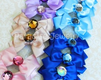 Glamor Party Favor Set Of 10, Girls Satin Hair Bow Clip Rhinestone Center, Flower Girl, Princess Party Favor, Hairbows, Spa Party favor
