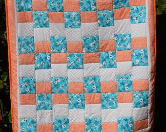Disney Frozen Olaf White Poke Dot Orange Crosshatch with Orange Minky Twin Size Machine Quilted Handmade Quilt by Lindas Hemstitching