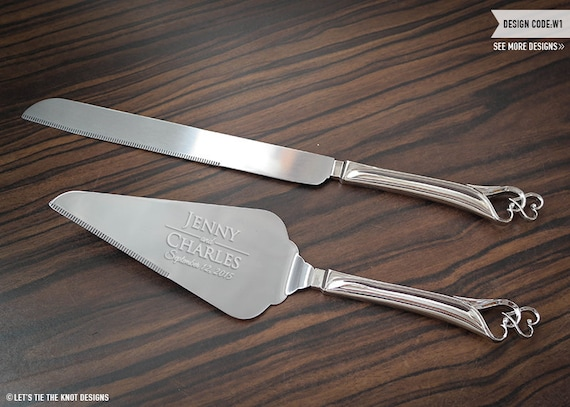 engraved wedding cake knife and server personalized wedding cake knife and server set 3921
