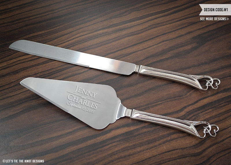 Wedding Gift Knife Set : Personalized Double Heart Wedding Cake Knife and Server Set