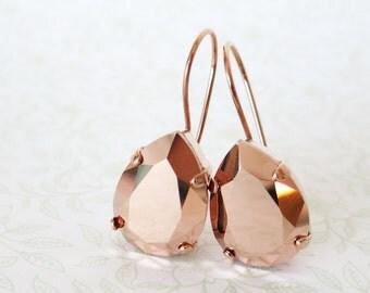 Rose Gold Swarovski Crystal Teardrop Earrings, wedding bridal earrings, bridal bridesmaid gifts, pink gold weddings, Ourania
