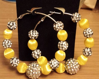 Love and Hip Hop and Basketball wives inspired hoop with yellow rhinestone beads