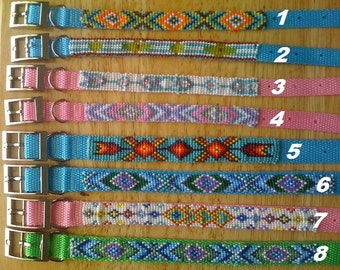 """Native American Custom hand beaded large & extra large dog collars (size 14"""" and up neck)"""