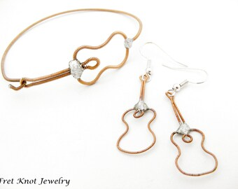 Guitar String Jewelry SET - Acoustic Guitar Bracelet and Earrings