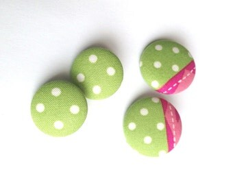 Kiwi Strawberry Fabric Covered Button Earring