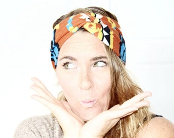 Headband turban, headband, girlfriend gift, teen girl gift, mom gift-orange tribal soft jersey, ready to ship,  girlfriend gift, yoga clothe